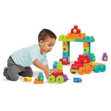 A boy play at block toy