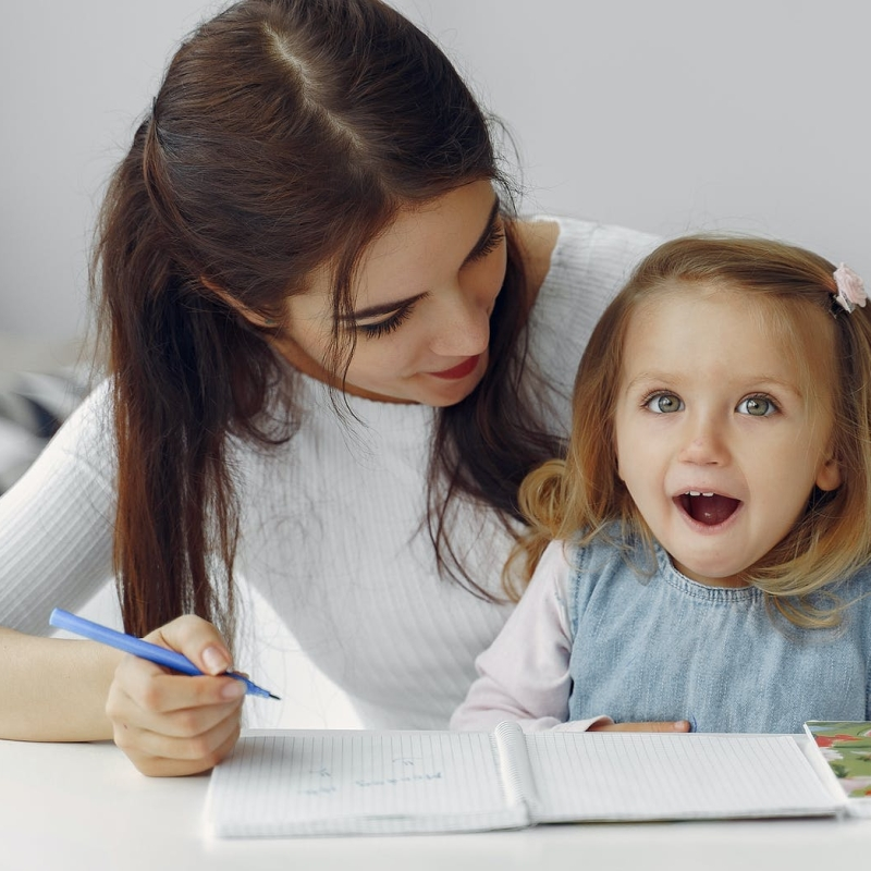 Mom teaching values to a child