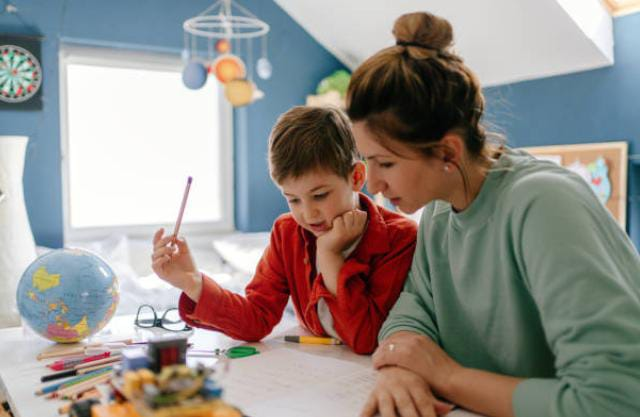 Assisting a child with his home work