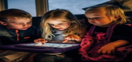 Kids Learning On Tablet Computer
